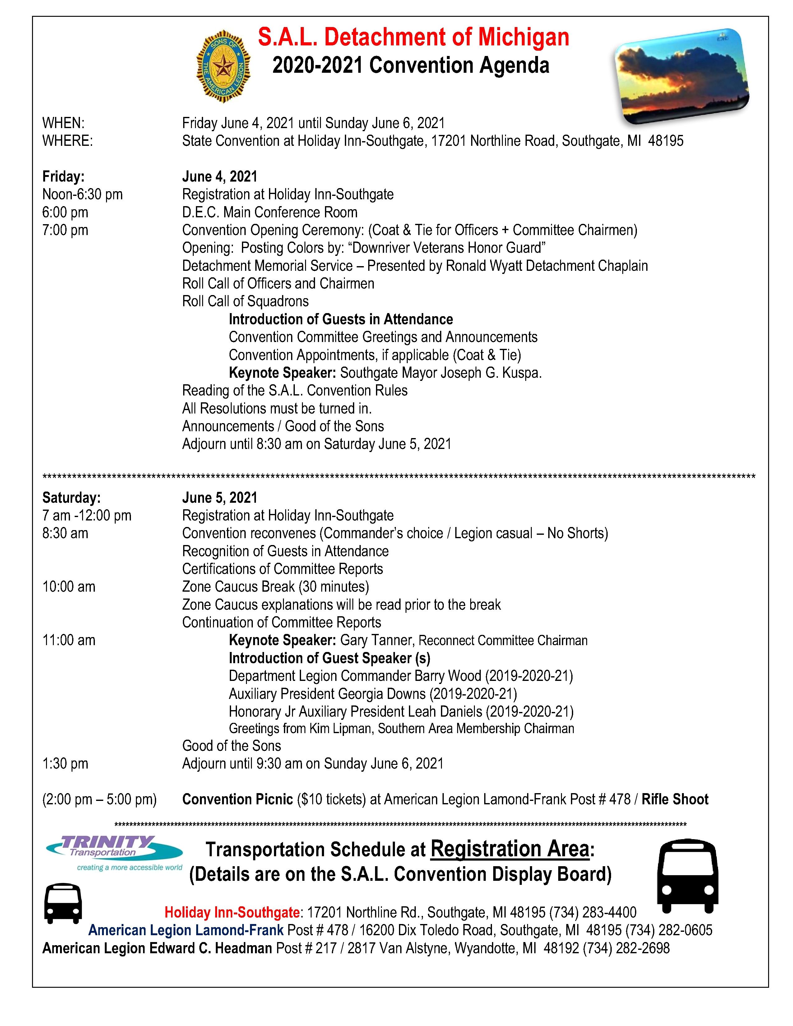 SAL 2021 Convention Schedule