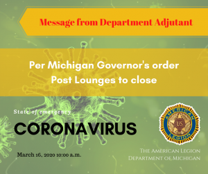 Message from Department Adjutant 3-16-2020